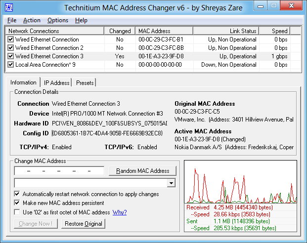 Mac Address Changer 主界面